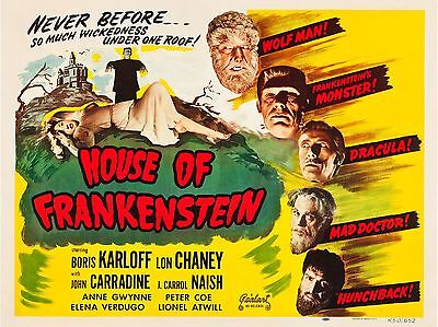 """House of Frankenstein 16"""" x 12"""" Reproduction Movie Poster Photograph 2"""