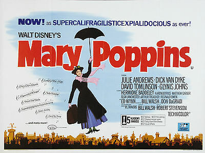 "MARY POPPINS 1964 16"" x 12"" Reproduction Movie Poster Photograph"