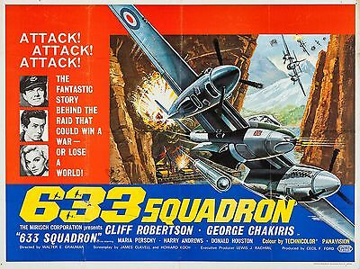 """633 Squadron 1964 16"""" x 12"""" Reproduction Movie Poster Photograph 2"""