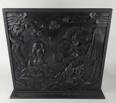 Antique Stunning Chinese Hardwood Carved Wooden Panel In Heavy Iron Frame
