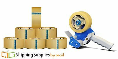 "Free 2"" Tape Gun Dispenser with 6 Rolls Clear Box Packing Tape 2"" 110 Yds 1.6Mil"
