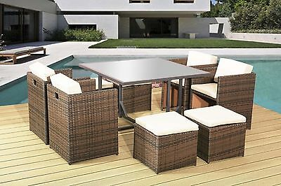 Garden Rattan Furniture Dining Cube Set For 8PPL With Cushions Outdoor Indoor