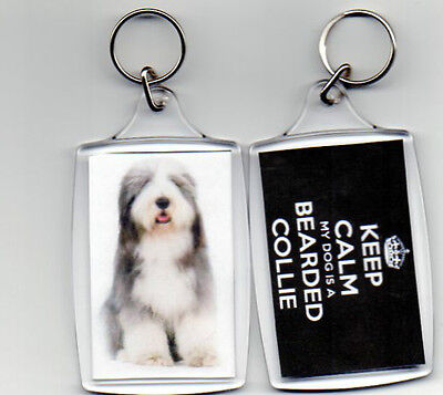 BEARDED COLLIE - LARGE KEEP CALM PHOTO KEYRING  (image size 70 x 45mm)