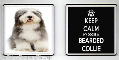 KEEP CALM MY DOG IS A BEARDED COLLIE DRINKS COASTER (image size 90mm X 90mm)
