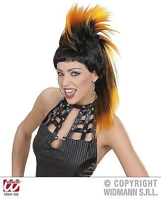 Orange & Black Spiked Wig Punk Rocker Spikey Mohican 80'S Rocker Fancy Dress