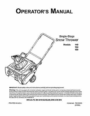 MTD Snow Blower Snow Thrower Owner's Operator's Manual
