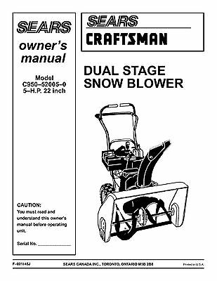 Sears Craftsman Snow Blower Snow Thrower Owner's Manual