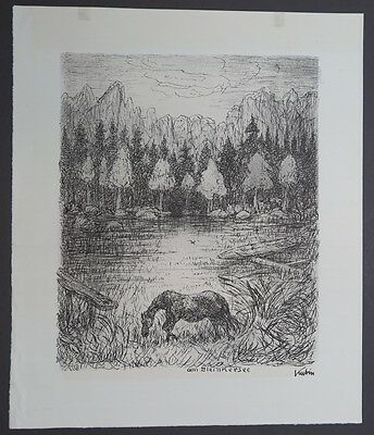 Alfred Kubin Am Gleinkersee Lithographie 1944