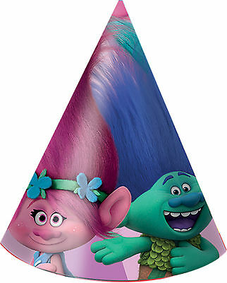 Dreamworks Trolls | Poppy | Branch | Pink Party Hats | Favours 1-48pk
