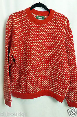 Vintage Roots LL Bean made in Norway birdseye red wool sweater - XL extra large