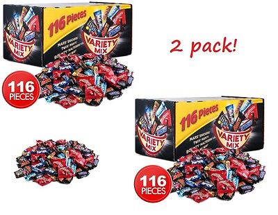2 x Mars Snickers VARIETY Mix 116 Bars 1.7kg Box Milk Chocolate Bounty Twix M&M
