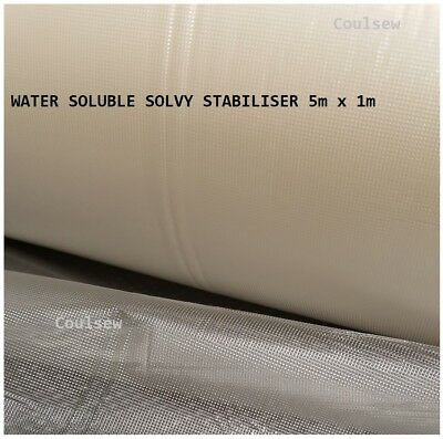 WATER SOLUBLE STABILISER 5m x 1m Water Wash Away Dissolvable Film Backing Topper