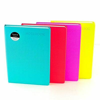 A4 A5 Soft Notebook Ruled Premium Notepad 80gsm Page Neon Colours Hardback