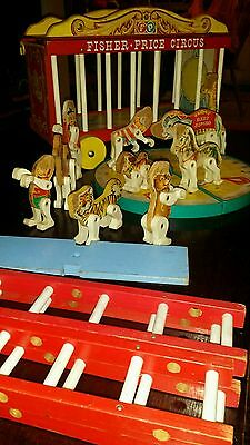 Vintage Fisher Price Little People Big Performing Circus Wagon Train  #900 1962