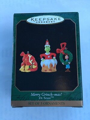 Miniature 1999 HALLMARK KEEPSAKE Merry Grinch-mas! Dr. Seuss NEW