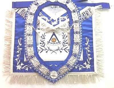 Hand Embroider Masonic Past Master Apron Blue With Past Master Chain Collar