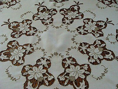 "FANCY MADEIRA Cutwork Linen Tablecloth 43"" Topper Hand Embroidered LAUNDERED"