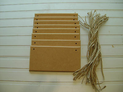 8 X Wooden Plaques Curved Edge Blanks Top Quality Mdf + Jute String
