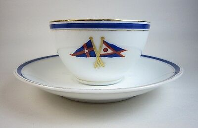 Antique New York Yacht Club & Fred Thurber Sachem Porcelain Coffee Cup & Saucer