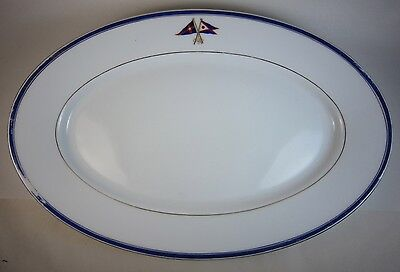 """Antique New York Yacht Club & Fred Thurber Sachem China Large 16"""" Oval Platter"""