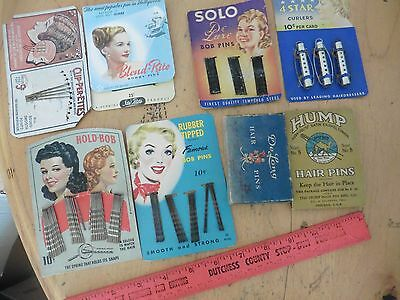 Lot of Vintage hair vanity advertising Bob bobby pins De Long Hump Solo Curler +