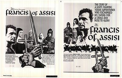 """~~Lot of 2 Francis of Assisi 1961 8x10"""" Glossy Photo Posters Bradford Dillman~~"""