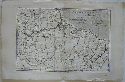 Brasil Partie Septentrionale Orig Copperplate map R. Bonne 1780