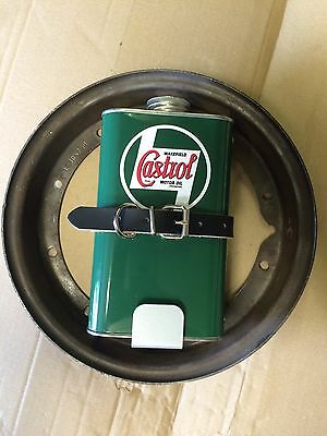 Vespa Oil Can Holder And Replica Castrol Can Spare Wheel Mount