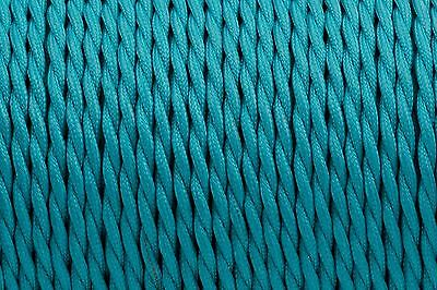 Teal Twisted Silk Braided Vintage Fabric Coloured Lighting Cable 3 core 0.75mm