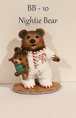 """Wee Forest Folk BB-10 Nightie Bear Special Color """"Candy Cane"""" With WFF Box"""