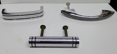3 Period Art Deco Chrome Drawer Pull Handles 1930's