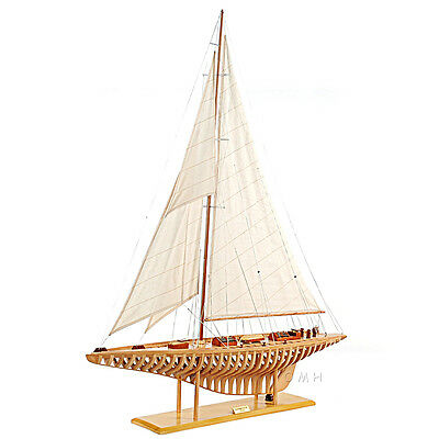 """Shamrock V Exposed Ribs Open Hull Wood Model 38"""" America's Cup Yacht Sailboat"""
