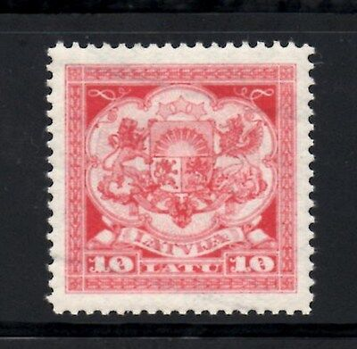 Latvia 1923 Great Seal of Latvis 10L Red & Light Red  SG.118  Mint (Hinged)