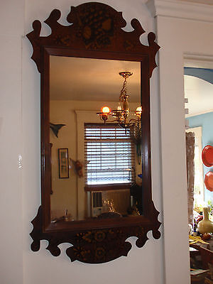 Antique Colonial Chippendale Hanging Wall Mirror 32 X 17