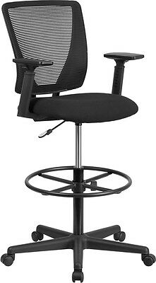 Ergonomic Mid-Back Mesh Drafting Chair Black Fabric Seat & Adjustable Foot Ring