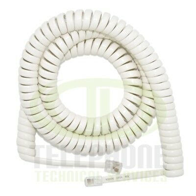 New Amdex 5M Replacement Curly Phone Cord in White (RJ11)