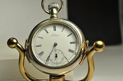 Antique 18 Size Nirvana Pocket Watch silver tone Case In Ticking Condition
