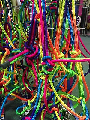 Horse Rainbow Coloured Rope Halter In Sizes Pony Cob & Full *NEW Back In Stock.!