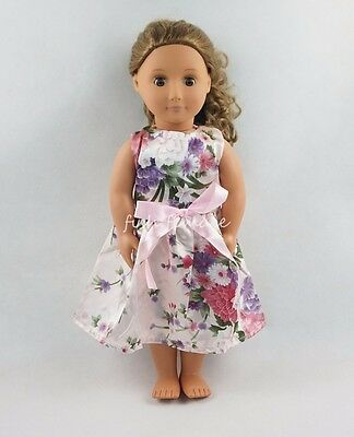 Flowers Pink Skirt Party Dress For 18''American Girl Doll Clothes Girl Gifts
