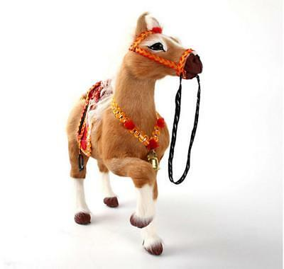 Brown Simulation Horse Toy Polyethylene&Furs Horse W/Saddle&Bell Doll 24x7x21CM