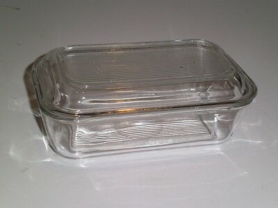 Vtg AROROC FRANCE CLEAR GLASS REFRIGERATOR COVERED DISH Butter /Cheese 1970's