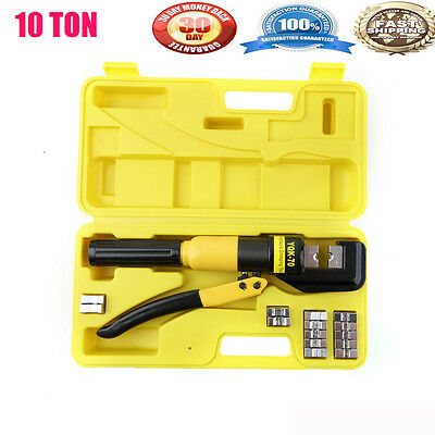 10 Ton Hydraulic Wire Terminal Crimper Battery Cable Lug Crimping Tool w/Dies H9