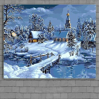 "16x20"" DIY Acrylic Paint By Number kit Oil Painting On Canvas Snow House Secne"