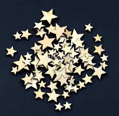 100pcs Rustic Wooden Small Star Shape Wedding Table Scatter Decoration Crafts AU