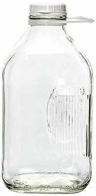 The Dairy Shoppe 2 Qt Heavy Glass Milk Bottle with Handle & Cap 64 oz 1/2 gal...
