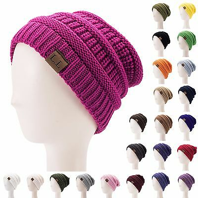 Cable Knit Womens Mens Acrylic Winter Warm Baggy Ski Cap Beanie Hat Slouchy A385