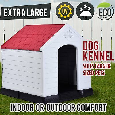 New Pet Puppy Dog House Kennel Extra Large Indoor Outdoor Weatherproof Plastic