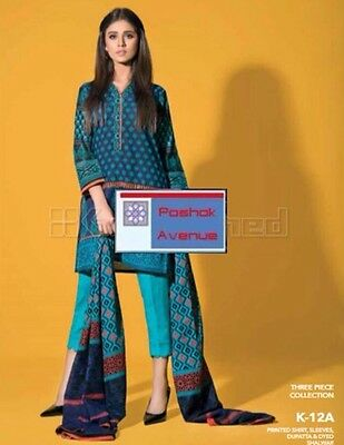 Gul Ahmed 100% Original Winter Collection 2016 Unstitched Suit K-12A