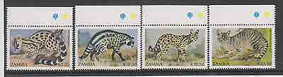 (Z-81) ZAMBIA  1991 Issue SMALL CARNIVORES S.G.643-646  U/MINT