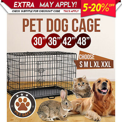 "Pet Dog Puppy Kennel Cage Collapsible Metal Crate Carrier Sizes 30"" 36"" 42"" 48"""
